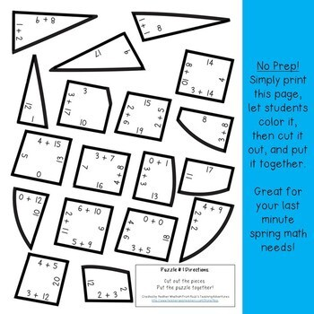 ADDITION Raindrop Puzzles | April Math Centers, Games, or Activities