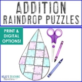 ADDITION Raindrop Puzzles | Spring Math Centers, Games, or Activities