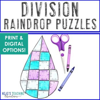 DIVISION Raindrop Puzzle Games | Great April Math Centers or Activities