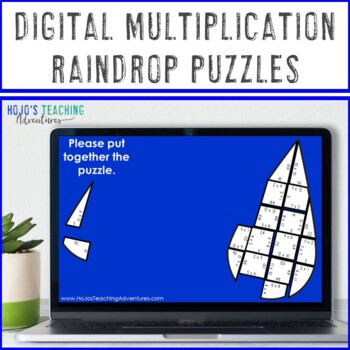 MULTIPLICATION Raindrop Puzzles | April Showers Bring May Flowers Math Activity