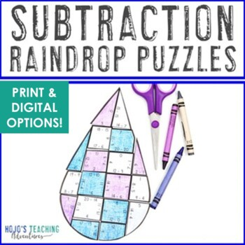 SUBTRACTION Raindrop Puzzles | April Showers Bring May Flowers Activities
