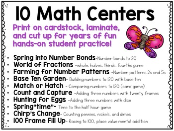 April Math Centers and Printables