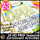 April Math Challenges & Brainteasers-Easter, Baseball, Can