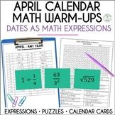 Daily April Math Dates, Bulletin Board Dates