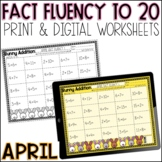 April Math Fact Fluency Worksheets   Printable and Google Slides