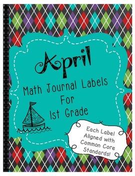April Math Journal Labels ~ CCSS Aligned
