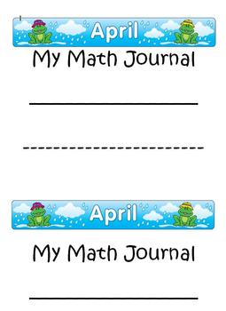 April~ Math Journal~Differentiated for each student's skill level