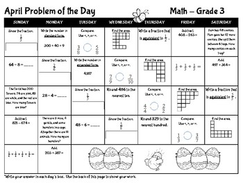 April Math Problem of the Day Calendar