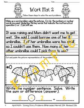 April Math:  Solving Story Problems Grades 1-2