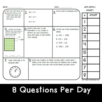 April Math Spiral Review: Daily Math for 3rd Grade (Print and Go)