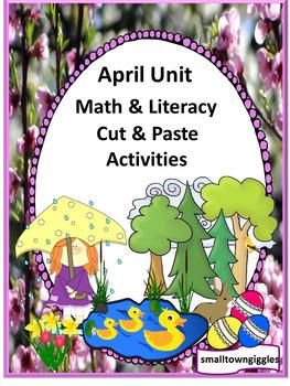 April Bundle Special Education Autism Cut and Paste Fine Motor Skills