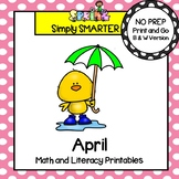 April Math and Literacy Printables and Activities For First Grade