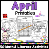 April Math and Literacy Printables and Activities For Kindergarten