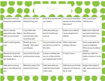April May June Writing Prompt Calendars
