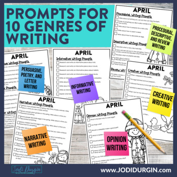 April Mega-Writing Packet {Task Card Prompts, Posters, & Writing Process}