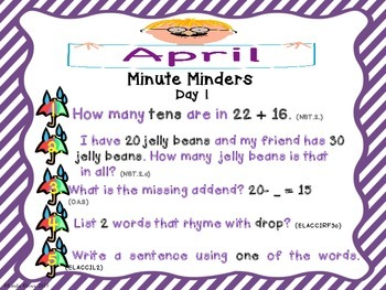 Morning Work for Interactive Notebooks: April Minute Minders