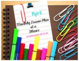 April Month At A Glance Lesson Plan