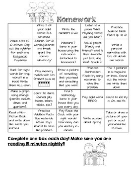 April Monthly Homework Menu