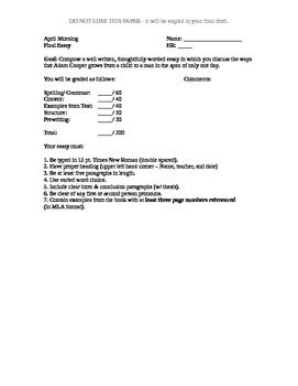April Morning - Final Essay Rubric