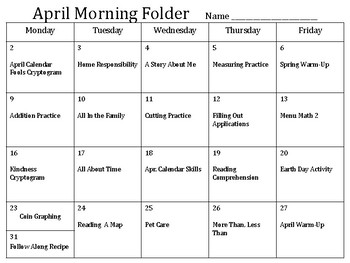 April Morning Folder - Functional Academics