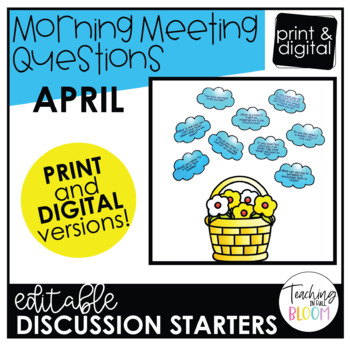 Editable April Morning Meeting Question Cards