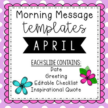 April Morning Message Editable Template