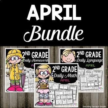 April Morning Work and Homework Bundle for Second Grade