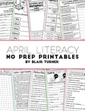 April NO PREP Literacy Printables