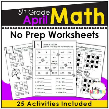 April NO PREP Math Packet - 5th Grade