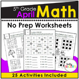 April NO PREP Math Packet - 5th Grade