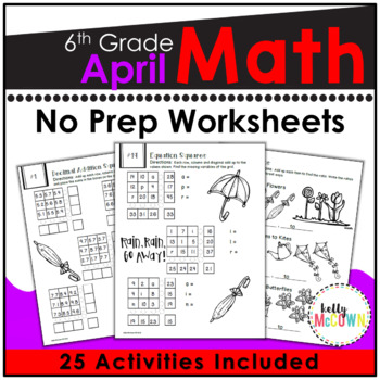 April NO PREP Math Packet - 6th Grade