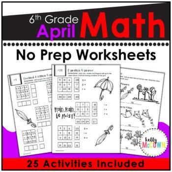 April NO PREP Math Packet - 6th Grade