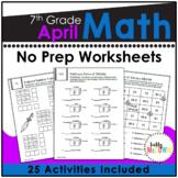 April NO PREP Math Packet - 7th Grade