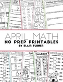 April NO PREP Math Printables