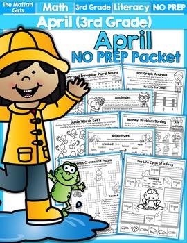 April NO PREP Math and Literacy (3rd Grade)