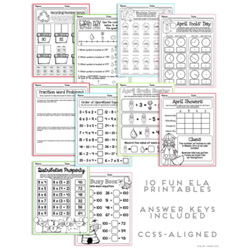 April NO PREP Printables: Math and Literacy BUNDLE