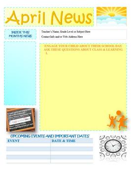 April Newsletter Editable Template
