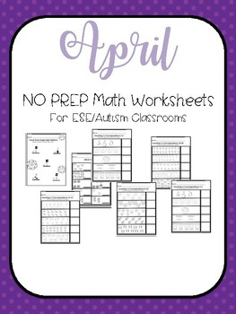 April No PREP Math Worksheets For Exceptional Education Students