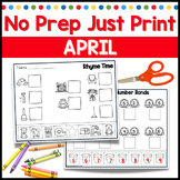 April No Prep Just Print Math and Literacy for Kindergarten