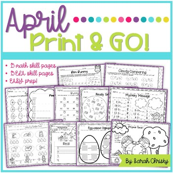 April Print & Go~No Prep Skill Pages {Easter, Earth Day, April Showers}