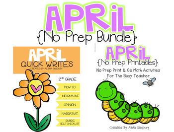 April No Prep Writing and Math Bundle [2nd Grade]