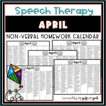 April Non-Verbal Homework Calendar