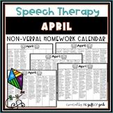 April Speech Therapy Non-Verbal Homework Calendar | Speech