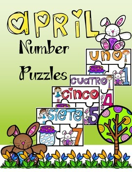 April Number Puzzles In Spanish 1-10