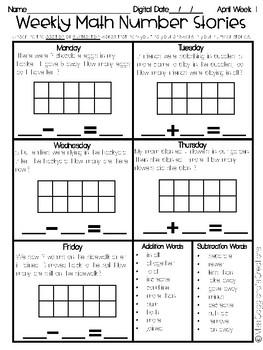 April Number Stories - Word Problems in Kindergarten