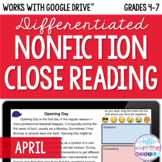 April Nonfiction Close Reading Comprehension - Online/Dist