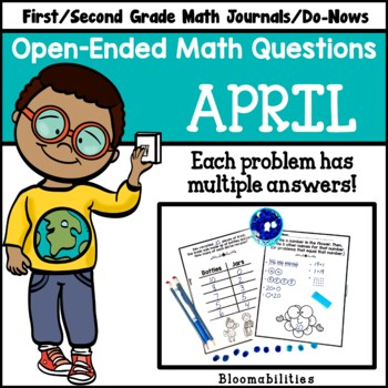 April Open-Ended Math Questions for Journals or Do-Nows (First/Second Grade)