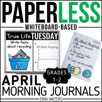 April Paperless 1st & 2nd Grade Morning Work {Whiteboard-based & EDITABLE}