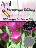 April Paragraph Editing Freebie for Grades 3-5