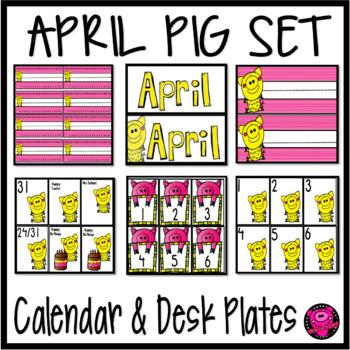 April Pigs  Theme Desk Plates with Matching Calendar Set